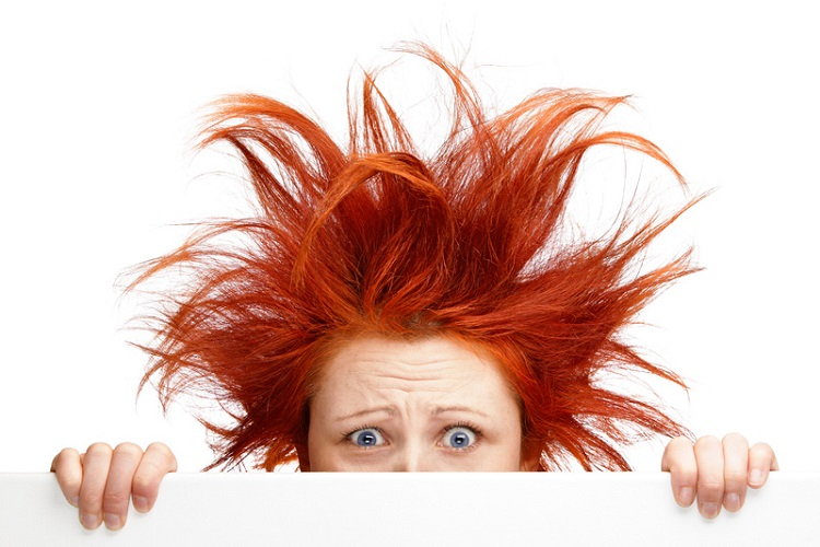 lady with crazy red hairstyle